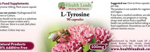 L-Tyrosine 500mg capsules labels